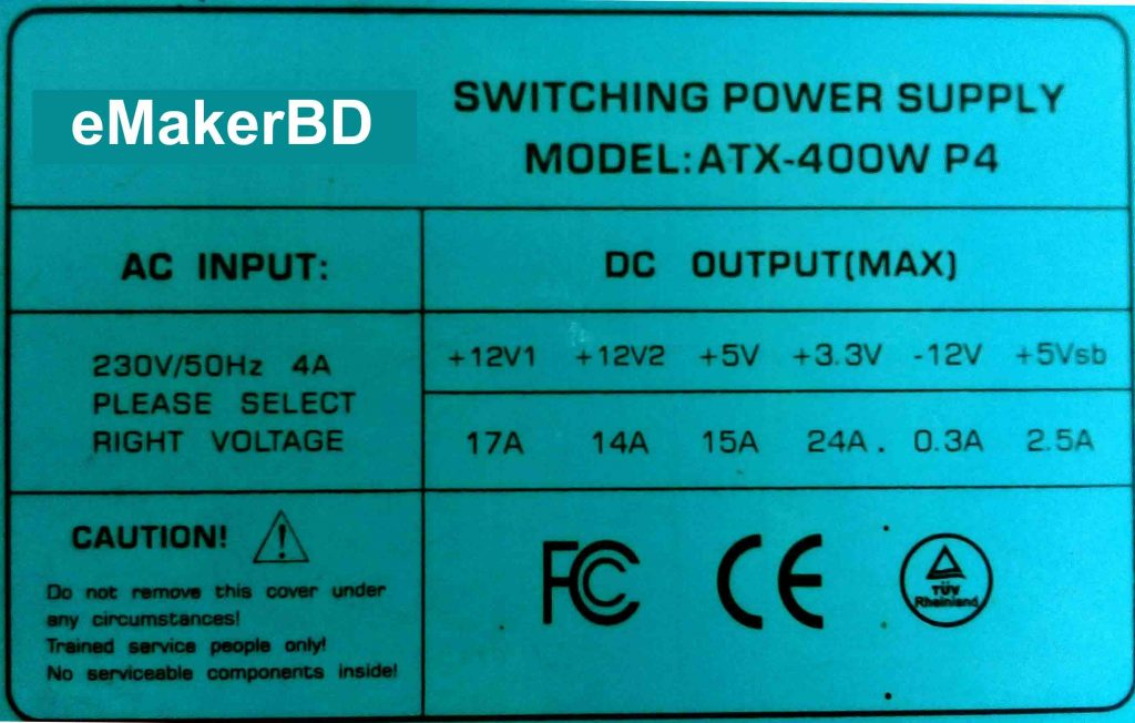 Power Supply output Voltage list কম্পিউটার পাওয়ার সমস্যা