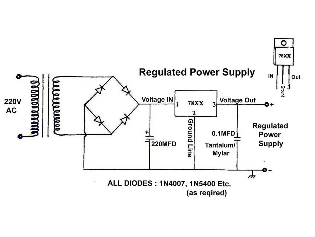 Regulated Power Supply circuit diagram