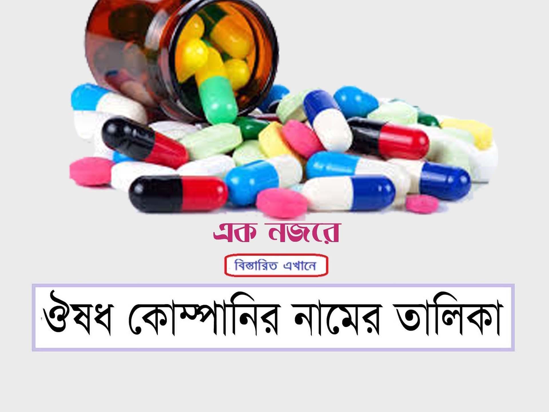 Medicine company name list -ঔষধ কোম্পানির তালিকা