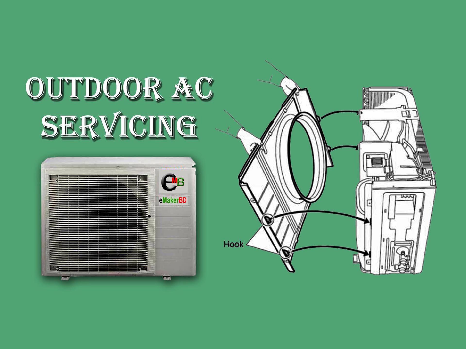 এসি সার্ভিসিং-Outdoor AC Servicing
